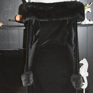 Black Velvet Dress with Faux Fur Collar & Sleeves